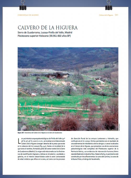 Publicación: CALVERO DE LA HIGUERA Sierra de Guadarrama, Lozoya-Pinilla del Valle, Madrid Pleistoceno superior-Holoceno (90.961-860 años BP)