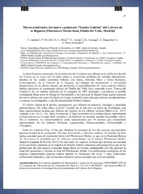 """Publicación: Microvertebrados del Nuevo yacimiento de """"Sondeo Galería"""" del Calvero de la Higuera (Pleistoceno Medio final, Pinilla del Valle, Madrid). XXIX Jornadas de Paleontología """"La Paleontología del Paleozoico"""", y Simposio del Proyecto PICG 596. Córdoba, 2 a 5 de Octubre de 2013. Pp. 87-88."""