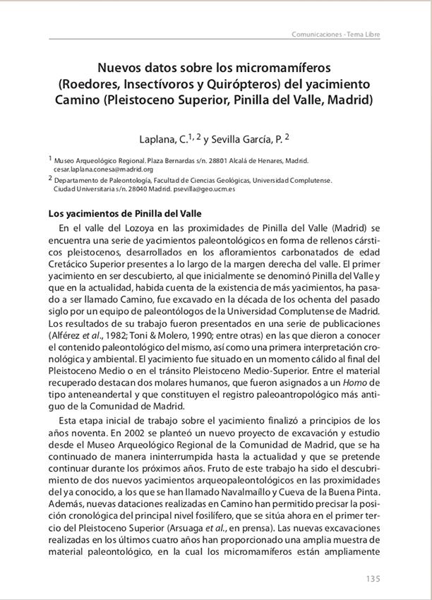 Publicación: Nuevos datos sobre los micromamíferos (Roedores, Insectívoros y Quirópteros) del yacimiento Camino (Pleistoceno Superior, Pinilla del Valle, Madrid). Libro de resúmenes - XXII Jornadas de Paleontología.