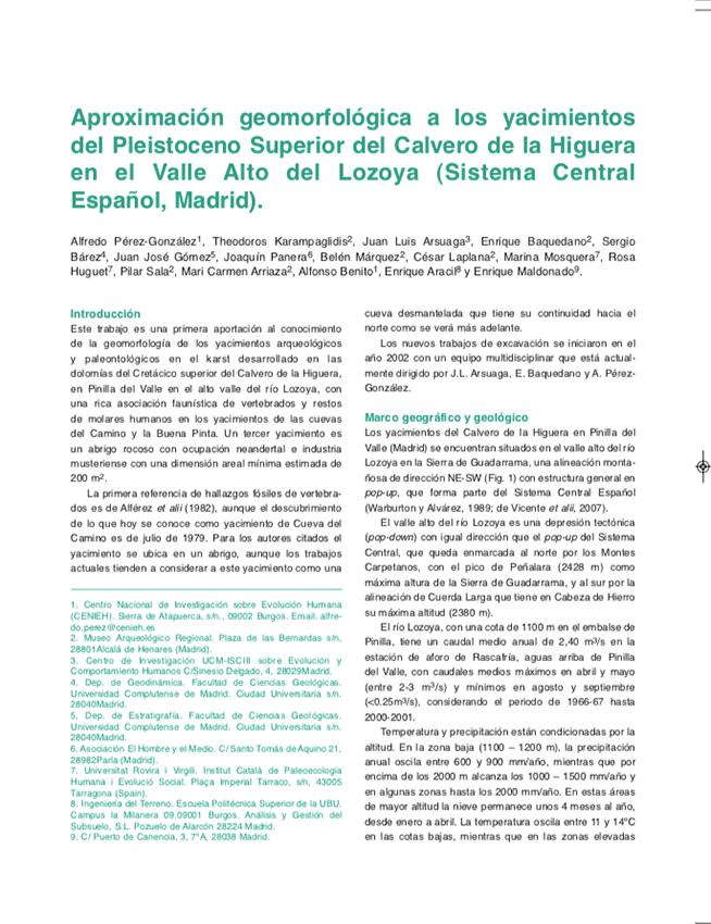Aproximación Geomorfológica a los Yacimientos del Pleistoceno Superior del Calvero de la Higuera en el Valle Alto del Lozoya