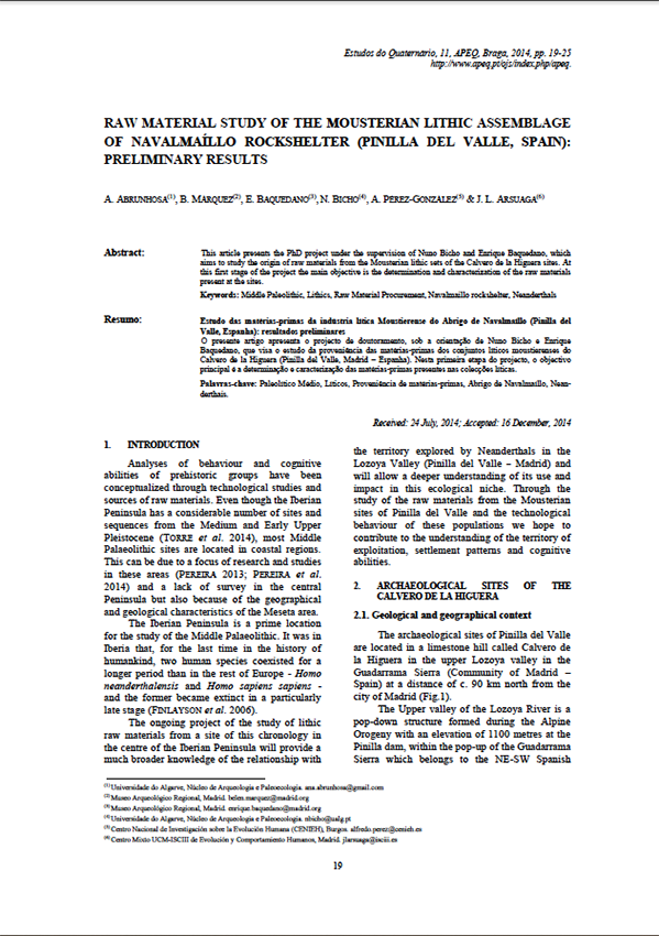 Publicación: Raw material study of the mousterian lithic assemblage of Navalmaíllo Rockshelter (Pinilla del Valle, Spain): preliminary results.