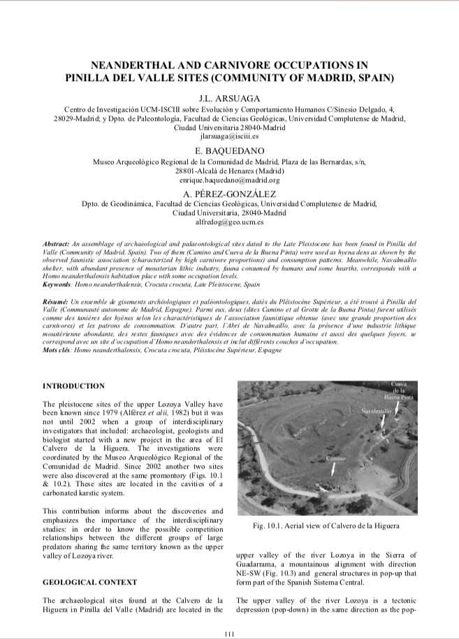 Publicación: Neanderthal and carnivore occupations in Pinilla del Valle sites (Community of Madrid, Spain), en Oosterbeek y Fidalgo, C., (eds.), Proceedings of the XV World Congress of the International Union for Prehistoric and Protohistoric Sciences. BAR International Series, 2224:  111-119.